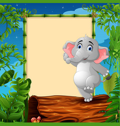 cartoon elephant standing on hollow log near the e vector image