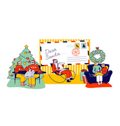 characters writing letter to santa claus asking vector image