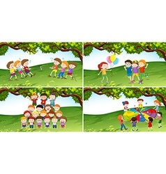 Children playing game in the park vector image