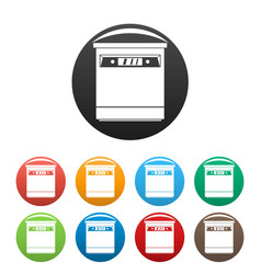 closed dishwasher icons set color vector image