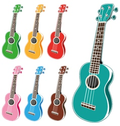 colorful ukulele set vector image