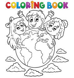 coloring book kids theme 2 vector image