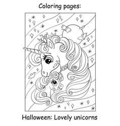 coloring book page cute unicorn witch halloween vector image