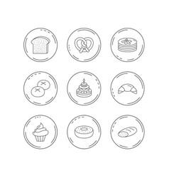 croissant pretzel and bread icons cupcake vector image