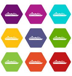 cruise ship icon set color hexahedron vector image