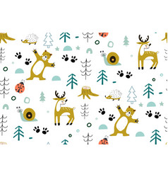 Cute seamless pattern with forest animals with vector