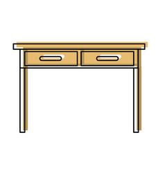 Desk table with drawers front view icon in vector