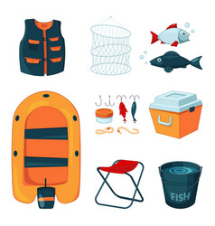 Different tools for fishing icons set in vector