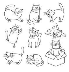 Doodle sketch cats character set vector