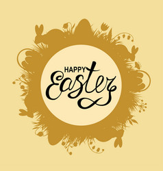 easter card with rabbits and grass vector image