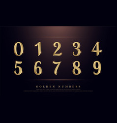 Elegant numbers gold colored metal chrome vector