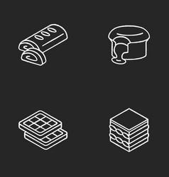European desserts chalk white icons set on black vector