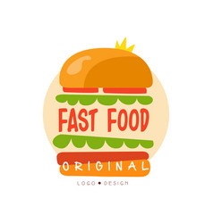 fast food logo original design badge with burger vector image