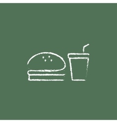 Fast food meal icon drawn in chalk vector image
