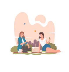 female friends having picnic in summer park vector image