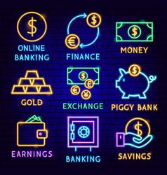 finance neon label set vector image