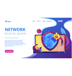 Firewall concept landing page vector