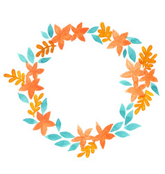 Flower and fern frame watercolor for autumn vector