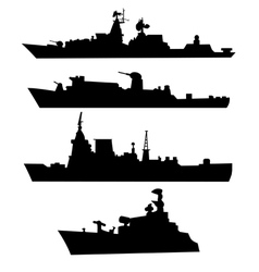 Four silhouettes a military ship vector