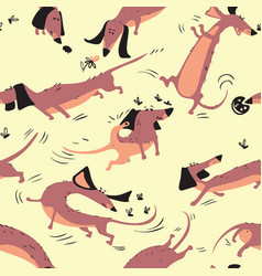 funny dachshunds playing with insects seamless vector image