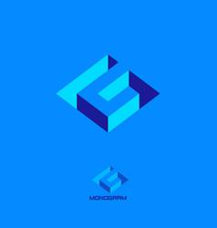 geometric inside cut logo g letter vector image
