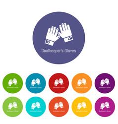 Goalkeeper gloves icons set color vector