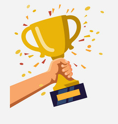 Gold trophy hold in hand vector
