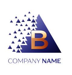 golden letter blogo symbol in blue pixel triangle vector image