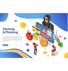 hacker phishing activity isometric concept vector image