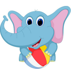 Happy elephant cartoon playing ball vector
