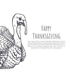 happy thanksgiving day sketches poster text vector image