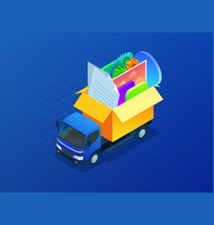 isometric creation of web design for site website vector image