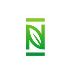 letter n organic leaf logo vector image