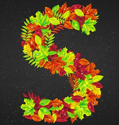 letters of autumn leaves vector image