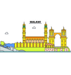 malawi line skyline malawi vector image