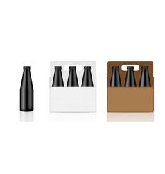 mock up realistic black bottle carton box vector image