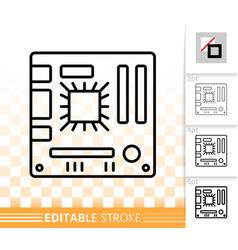motherboard simple black line icon vector image