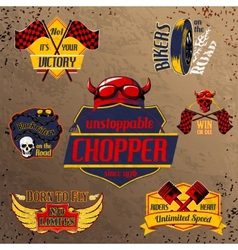 Motorcycle bike emblems set vector image