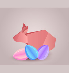 Origami paper rabbit with paper eggs separately vector