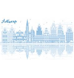 Outline antwerp skyline with blue buildings vector
