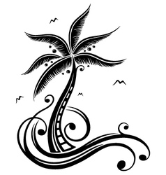 Palm tree beach sun vector