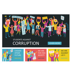 People parade horizontal banners vector