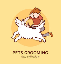 Pet grooming poster vector