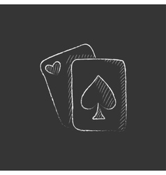 Playing cards Drawn in chalk icon vector