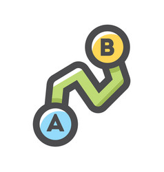 Point a to point b route icon cartoon vector