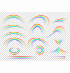 rainbow set isolated on transparent background vector image