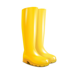 realistic 3d detailed yellow rubber boots vector image