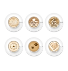 Realistic Coffee Foam Set vector