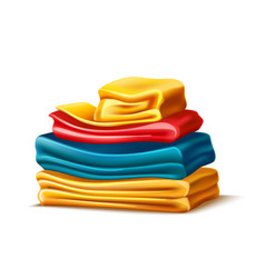 Realistic folded apparel or towel pile vector