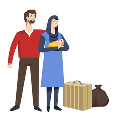 refugees family with newborn baby and baggage vector image